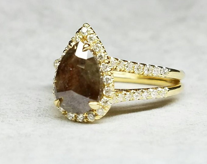 Raw diamond rose cut chocolate color pear shape teardrop engagement ring.