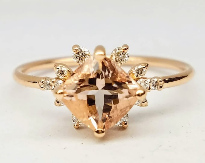 Morganite engagement ring, Rose gold pink Cushion morganite ring.
