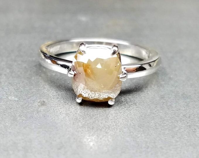 Raw diamond engagement ring, Cushion cut diamond engagement ring. Grey diamond ring.