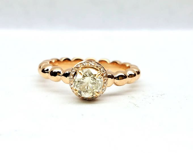 Rose gold engagement ring, Diamond engagement ring, Diamond solitaire ring, Beaded engagement ring.