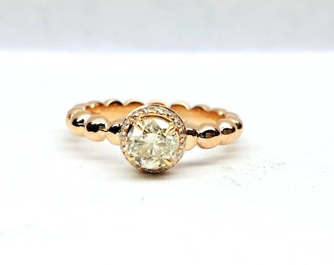 Rose gold engagement ring, Diamond engagement ring, Diamond solitaire ring, Beaded engagement ring.