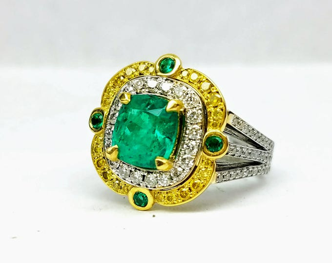 Two Tone Colombian Emerald Ring, Double Halo Diamond Engagement Ring, Emerald Engagement Ring, Emerald Ring,