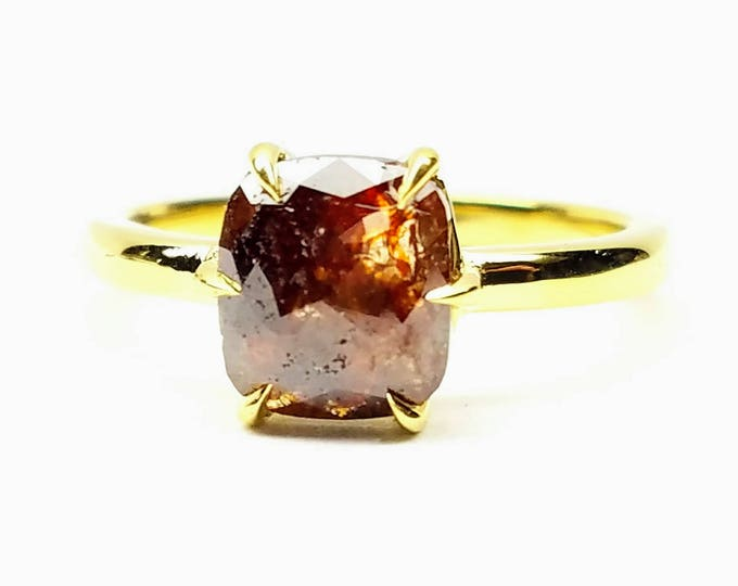 Cushion cut rough diamond ring, Chocolate diamond engagement ring, 18 karat gold engagement ring, Raw diamond ring.