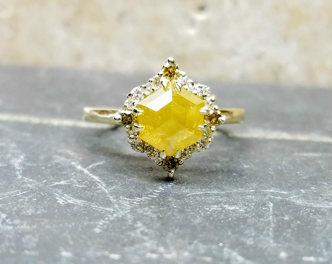 Yellow Hexagon diamond ring, Yellow gold rose cut diamond ring, Geometric raw diamond engagement ring.