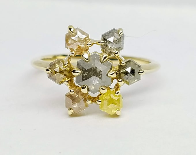 Multicolor diamond cluster ring, 14kt yellow gold geometric diamond ring.