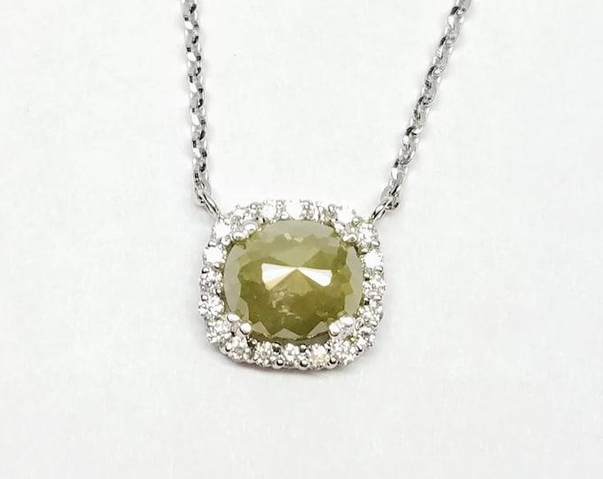 Gray diamond necklace, Rose cut grey diamond necklace, Raw gray diamond, Cushion diamond pendant.
