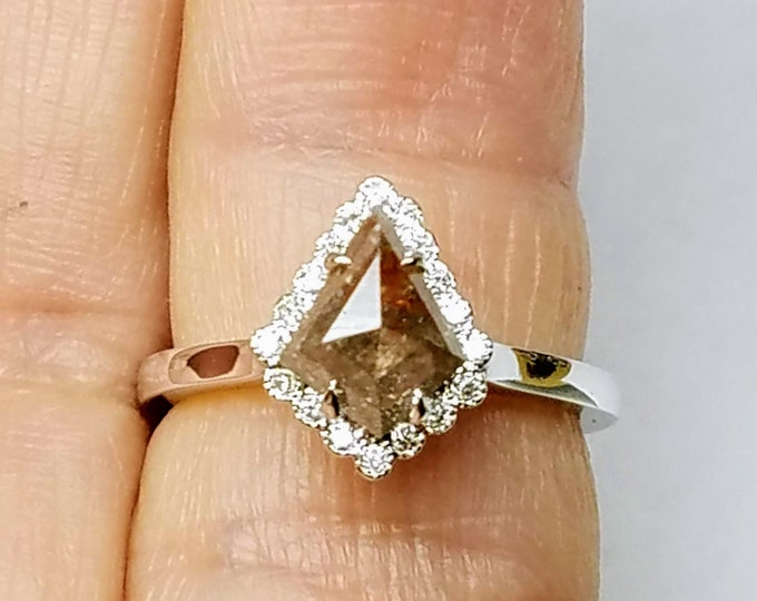 Champagne color geometric kite diamond ring, Kite diamond ring, Shield diamond ring, Organic diamond engagement ring.