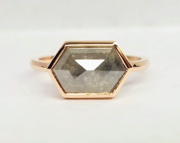 Hexagon diamond ring, Gray hexagon salt and pepper diamond ring, Geometric Rose gold raw diamond ring.