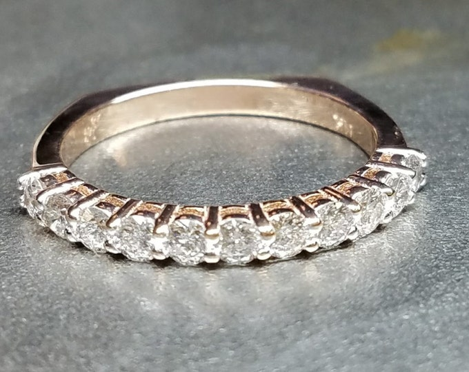 Rose gold diamond square band wedding anniversary band.