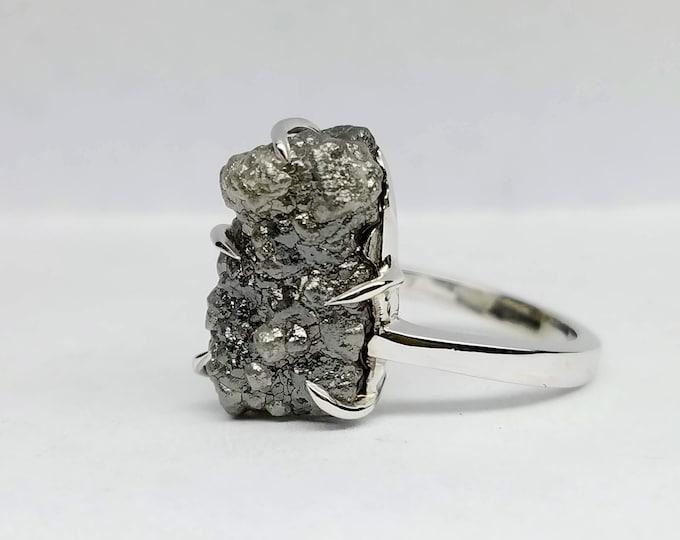 Rough diamond white gold ring, Raw diamond ring, Salt and pepper diamond.