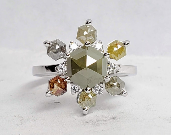 Cluster Diamond Ring / Solid 14 k Gold / Natural Diamonds, Hexagon rose cut diamond ring.
