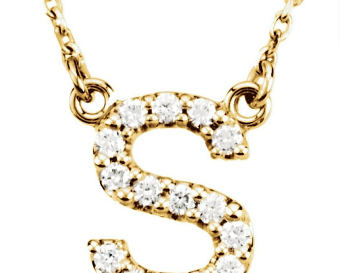 Gold diamond initial necklace pendant, dainty diamond initials.