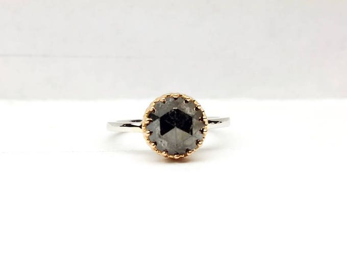 Black diamond engagement ring, Black diamond solitaire, Raw black diamond ring. Rose cut diamond engagement ring.