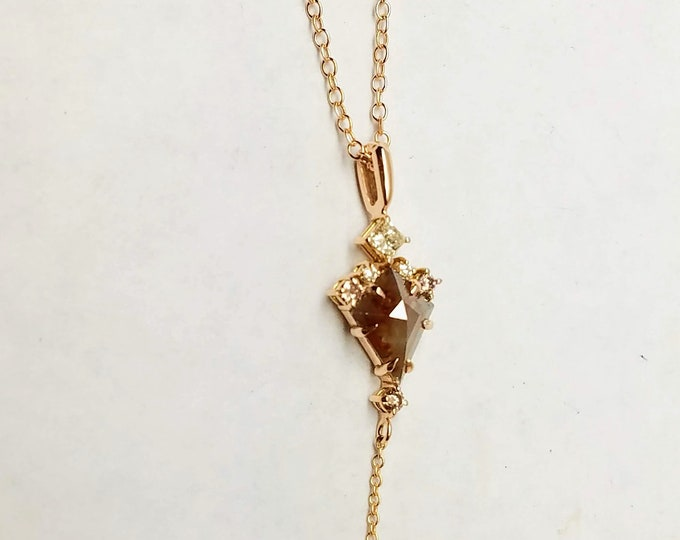 Rose gold raw champagne color diamond pendant, Geometric pendant, Kite shape diamond necklace.