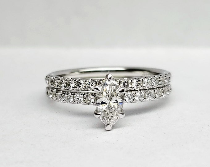 Marquise white gold engagement and wedding set.