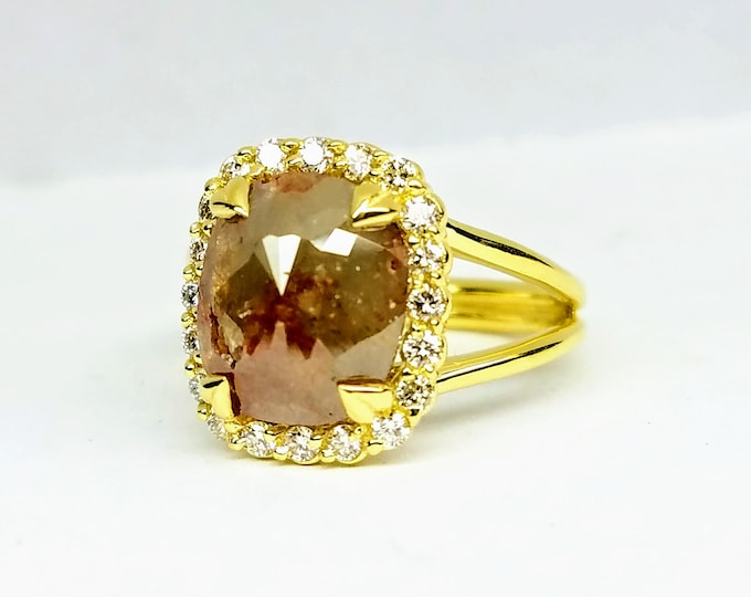 Rustic Rose Cut chocolate Diamond 18 karat Yellow Gold Engagement Ring, Non traditional rough rustic diamond engagement ring.