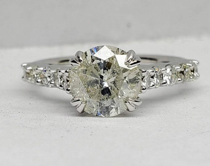 1.71 carat Icy salt and pepper diamond engagement ring.