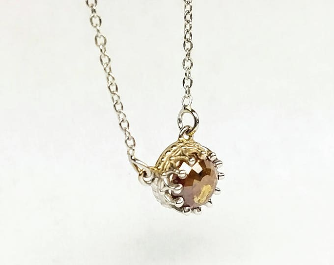 Rustic diamond pendant, Grey brown diamond pendant, Valentine's day gift, Dainty diamond pendant, Rose cut raw diamond necklace.