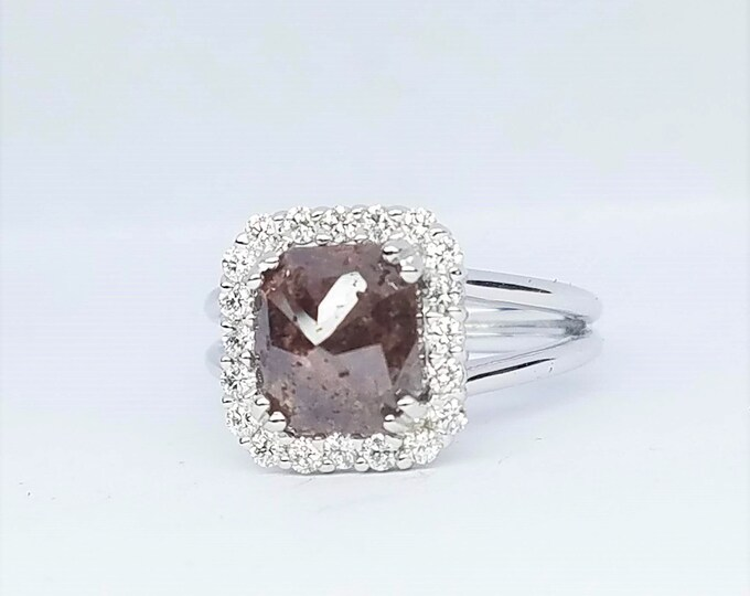 Rose Cut chocolate Diamond rose Gold Engagement Ring, Non traditional raw rustic diamond engagement ring.