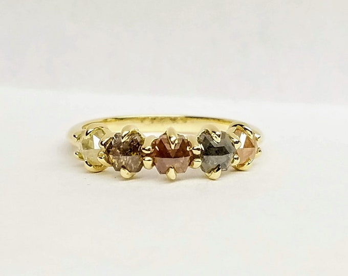Multicolor hexagon rose cut diamond ring, 14kt yellow gold diamond ring.