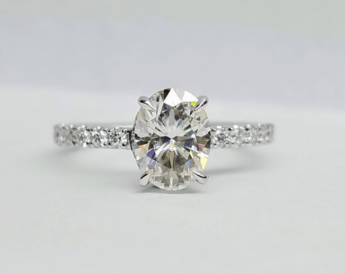 Forever One Moissanite Engagement Ring, Moissanite oval engagement ring, hidden halo ring, Sustainable engagement ring.