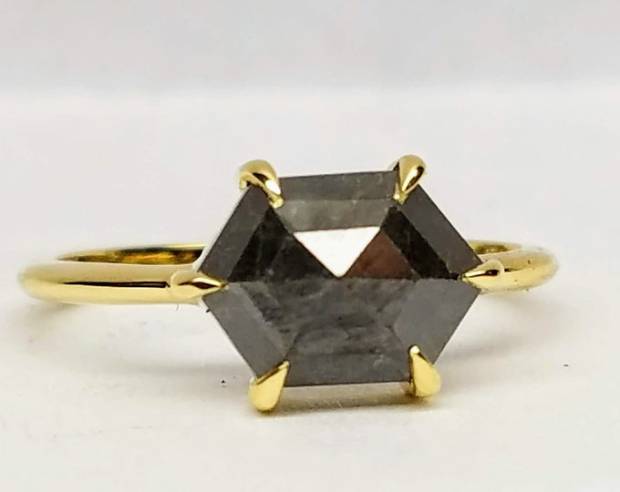 Hexagon diamond ring, Gray hexagon salt and pepper diamond ring, Geometric Rose gold raw diamond ring.