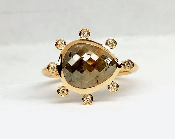 Raw rose cut rough diamond engagement ring, Non traditional ring, Chocolate diamond ring, 14 karat rose gold ring.