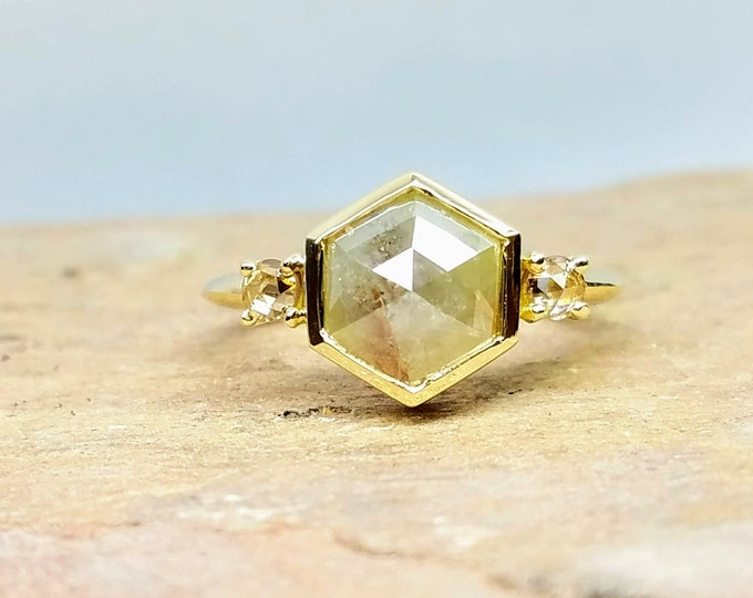 1.38ct Hexagon Diamond Engagement Ring 14K Yellow Gold Rosecut Salt and Pepper Bezel Set Unique Alternative