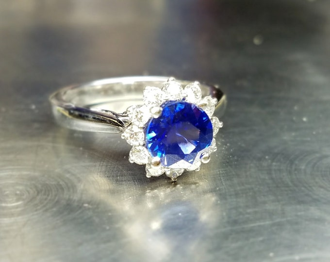 Blue sapphire engagement ring/Something blue/September birthstone, Natural sapphire.