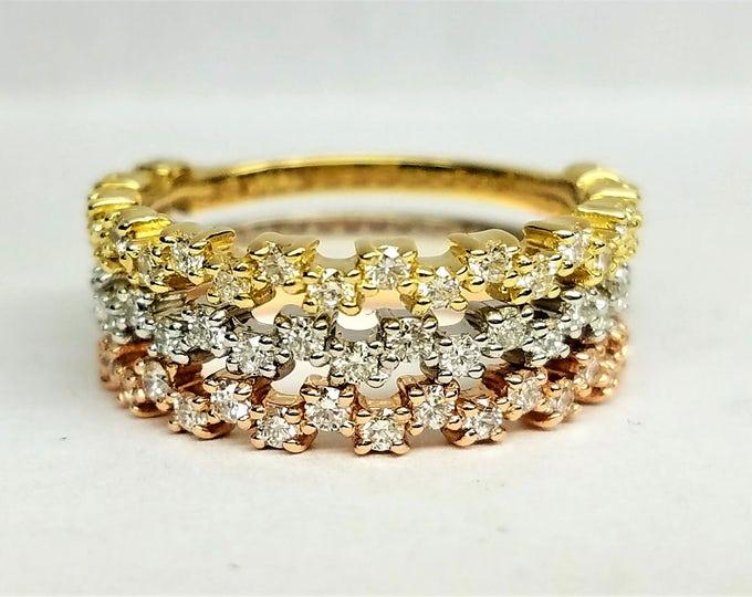 Dainty Diamond wedding band, Diamond anniversary band, Diamond stacking ring,  Delicate diamond ring, tricolor rings.
