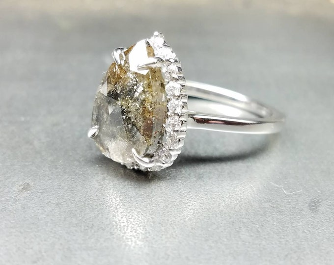 Rustic gray diamond engagement ring. Organic grey diamond ring.