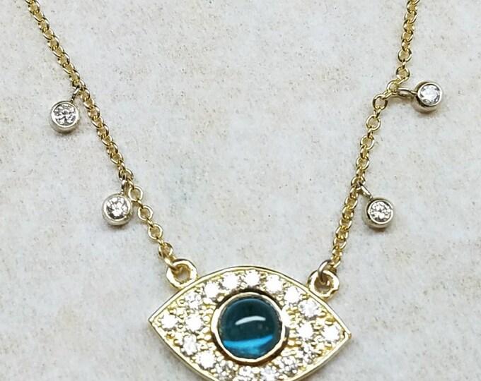 Blue evil eye diamond necklace.