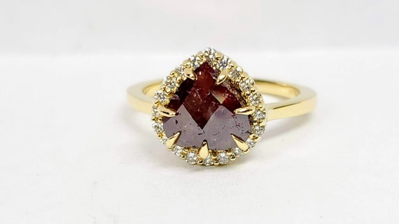 Pear Shape Rose cut diamond engagement ring, Non traditional ring, Chocolate diamond ring.