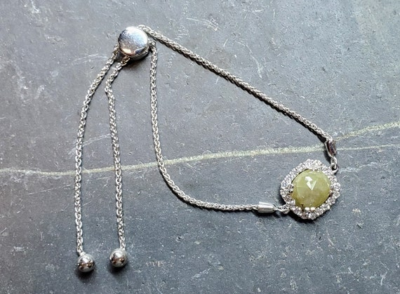 Gray diamond bracelet, Rose cut grey diamond bracelet, Raw gray diamond, Cushion diamond bracelet.