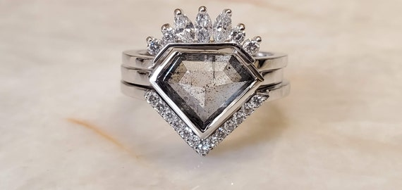 Salt and pepper geometric shield shape diamond engagement ring, 2.20ct diamond ring, Shield diamond ring.