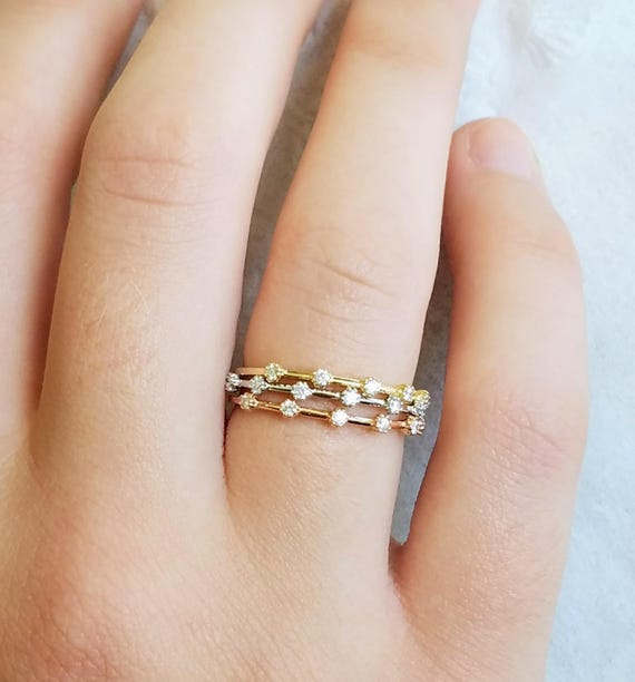 Dainty Diamond Wedding Band, Stackable Rings, Tricolor Diamond Engagement Ring, Three color Diamond Ring, Minimalist ring