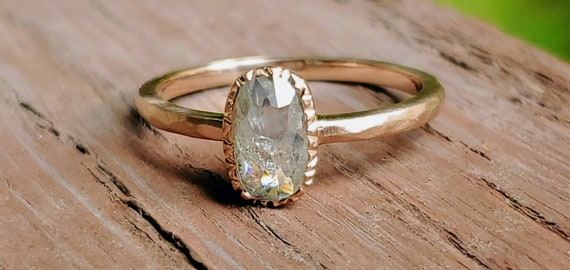 Oval salt and pepper diamond engagement ring