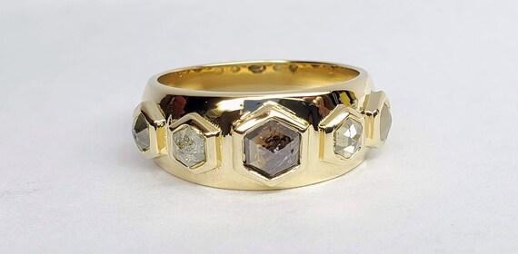Hexagon multi color  diamond yellow gold band.
