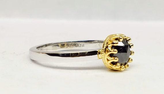 Black diamond engagement ring, Black diamond solitaire, rose cut diamond ring.