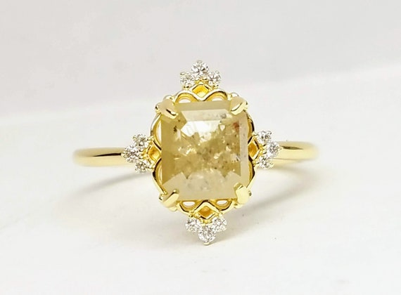 1.62ct Emerald cut rose cut diamond engagement ring, Art deco Unique Engagement Ring, Delicate Ring, 14Kt yellow gold diamond ring.