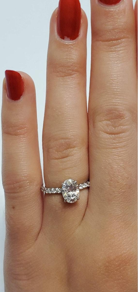 Forever One Moissanite Engagement Ring, Moissanite oval engagement ring, hidden halo ring, Sustainable engagement ring.