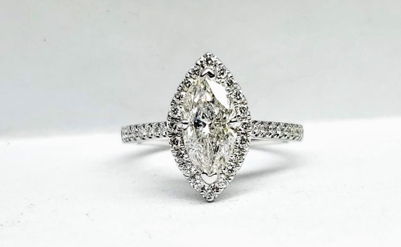 1.40 carat marquise white gold engagement ring.