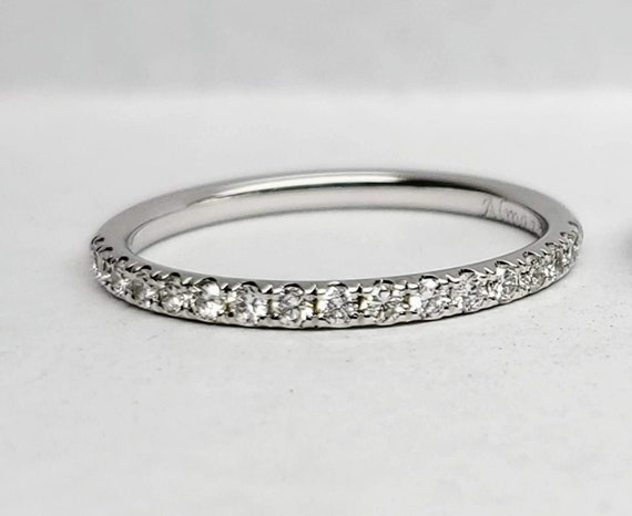 Diamond wedding band, white gold wedding ring.
