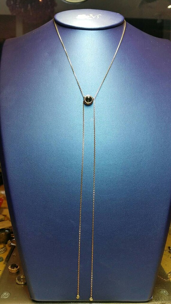 Black Moissanite Rose gold lariat necklace, Lariat necklace.