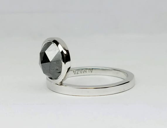 Black diamond ring, White gold stackable diamond ring, Assymetric black diamond ring, Black rose cut round diamond ring.
