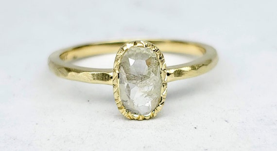 14kt Yellow gold rustic Oval salt and pepper diamond engagement ring