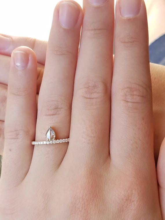 Diamond engagement ring, Stackable diamond ring, Pear shape diamond ring, Asymmetric ring, Non traditional engagement ring, Vintage ring.