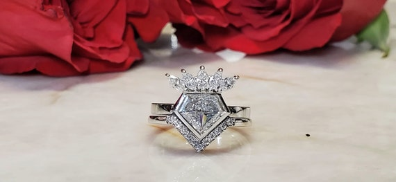 Shield shape diamond 1.35 carat engagement ring