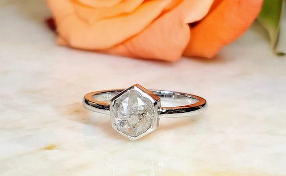 Salt and Pepper hexagon white gold ring.