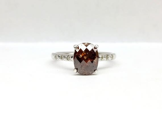Rose Cut brown oval diamond Ring.